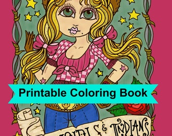 Digital Coloring Book  Downloadable Cowgirls and Indians coloring pages, digi stamps, cardmaking, clip art, old west