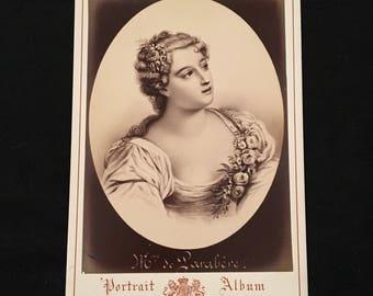 Cabinet Card of Marie-Madeleine - Marquise of Parabère, 19th Century Antique Photograph, Jacotin Portrait Album