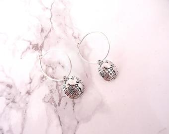 Tiny globe hoop earrings, wanderlust jewelry, earth map earrings, traveler earrings, minimalist earrings, dainty globe earrings