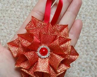 Christmas star,star decoration,star ornament,ribbon star,gold Christmas,gold star,handmade Christmas,unique star,handmade ornament