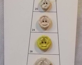 Vintage 1970s or 1980s Part of Salesman Button Sample Card-Clay or Wood-8 Buttons-FREE SHIPPING!