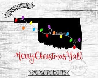 Merry Christmas Y'all Oklahoma Christmas Lights SVG / Merry Christmas Y'all Cut File and Printable / Commercial Use