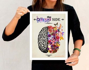"The Right Creative Brain - Watercolor 11"" x 14"", Fine Art Medical print, Neurologist Gift, Nurse gift, Neurosurgeon gift, Psychologist gift"