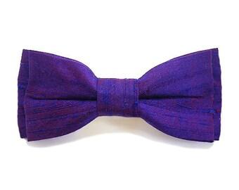Big bow bow tie, silk, purple.