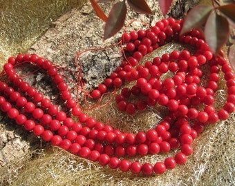 A Grade Bamboo Red Coral 6mm Round beads