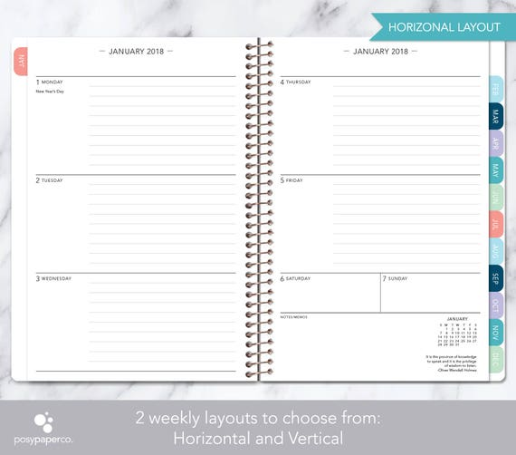 Planner Calendar Choose Start Month Add Monthly Tabs