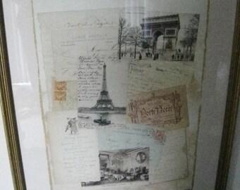 Framed Paris Print Gold Gild Frame,Street Scenes,City Scape,Postcards,Retro,Vintage,Eiffel Tower,L'arc de Triomphe ERe