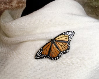 Hand tooled leather monarch butterfly brooch or hair barrette - Original gift for her - Artisan assessories