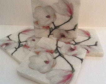 Set of 2 Marble Coasters~Magnolia /Floral coasters/Magnolia gift idea/Magnolia floral tile art/Floral gift idea/Flora drink Coasters