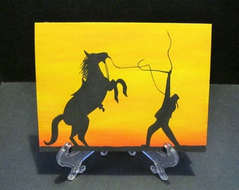 Horse Wranglin' - Sunset Silhouette Art Card
