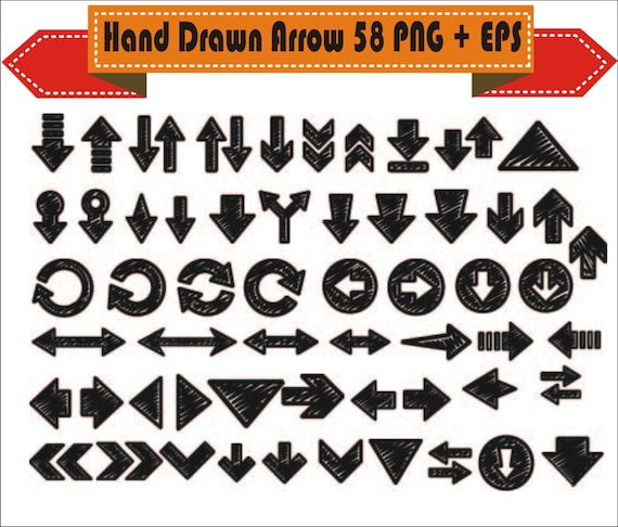 Hand Drawn Arrow Vintage Retro Vector Clipart PNG EPS PSD Set Digital Files Transparent Scrapbook Supplies Clip Art Instant Download From VectorArtShop On