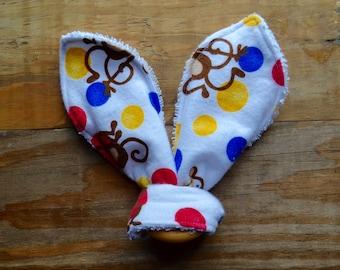 Bunny ear teething ring, monkey baby teether, wood teething ring, cloth teething ring, bunny ear ring, baby shower gift