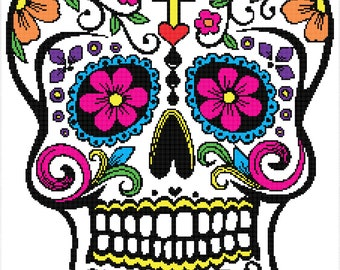 Sugar Skull with Cross Graph for Graphgahn - Chart and Written Instructions - PDF Pattern Only