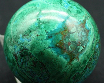 Polished Chrysocolla and Malachite Sphere, Peru, Mineral Specimen for Sale
