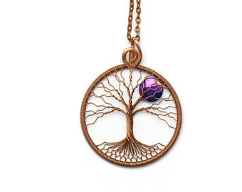 Tree Of Life Necklace Pendant Full moon Family tree Copper pendant necklace Wire wrapped tree of life Wired copper jewelry Hematyt pendant