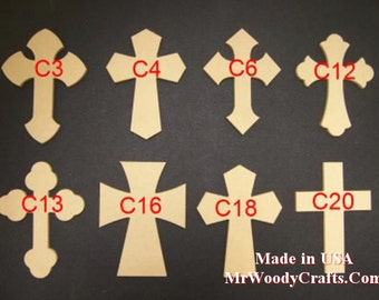 """5 4"""" x 6"""" x 1/4"""" Unfinished Wooden Crosses, No Keyholes, Your choice from 8 styles. 040625-5"""