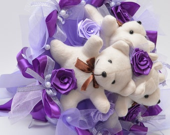Amazing toy bouquet for your girlfriend or for kids in violet. Perfect birthday gift for mom. (Teddy bears 3pcs.)