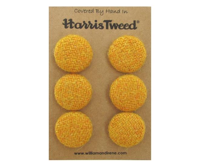 Harris Tweed Pure Wool Mustard Handmade Covered Set of 6 Buttons 24mm Diameter