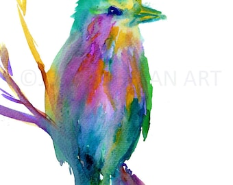 Watercolor Print of Bird, Lilac Breasted Roller Art, Bird Painting, Watercolor Bird Print, Abstract Bird Art, Colorful Bird Painting