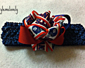 New York Giants Baby Girl boutique Bow Crocheted Headband