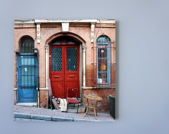 Red door, Photo on 19x19 cm MDF (Medium-density fibreboard), Wall Art, Home Decor, Limited Edition Photography Prints