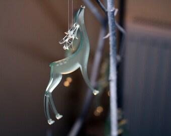 Frosted Glass Reindeer, Deer Christmas Decoration, Reindeer Decoration, Reindeer Ornament, Cute Tree Decoration, Glacier Effect