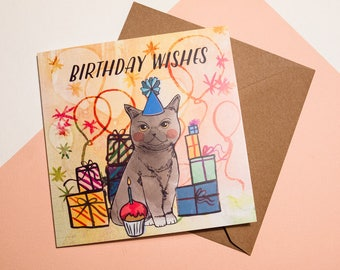 Happy Birthday Cat Greeting Card - British Shorthair Cat - Card for All - Illustrated Paper Goods - Illustration - Cat Lovers