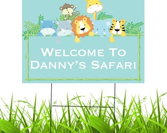 Personalized Safari Yard Sign | Waterproof Outdoor Party Yard Sign | 1st Birthday | Baby Shower | Jungle Party | Custom Lawn Sign
