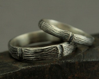 Woodland Wedding Set - Handmade Forest Wedding Rings - Sterling Silver Wedding Bands -Unique His and Hers Wedding Ring Set