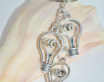 Keychain//Swivel Clip Light Bulbs, Light Bulb Keychain with Swivel Clip, Silver Light Bulb Key Chain, Light Bulb Charm Key Chain or Bag Clip