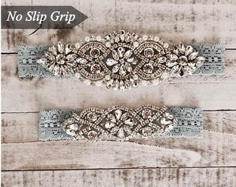 Wedding Garter, NO SLIP Lace Wedding Garter Set, bridal garter set, vintage rhinestones D01S-D02S