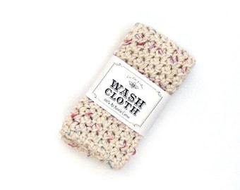 Natural Cotton Washcloth /  Handmade Crochet Gift / Bath Towel / Ivory, Cream, Speckled, Pastel, Washcloth