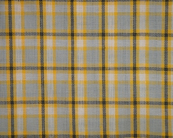 Homespun Fabric | Sewing Fabric | Cotton Fabric | Quilt Fabric | Home Decor Fabric | Plaid Fabric | Yellow White Grey And Charcoal Fabric