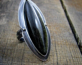 Cocktail Ring - Hand Carved Cabochon 'Digipod' in Sterling Silver - MADE TO ORDER