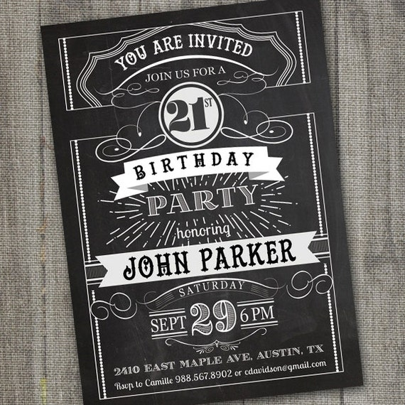 Molto Vintage Retro Birthday Invitation PRINTABLE Chalkboard EJ81