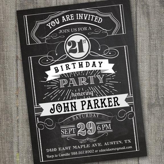 Conosciuto Vintage Retro Birthday Invitation PRINTABLE Chalkboard JK91