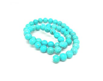 48 round Turquoise beads 8mm natural