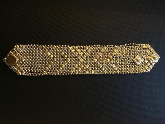 gold braceletGold Mesh BraceletSnap button braceletMen Gold