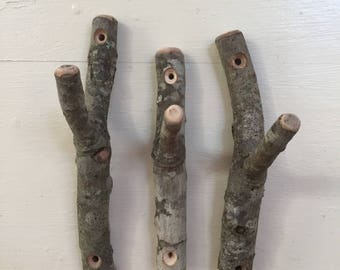 Rustic twig hooks  Bundle of 3.