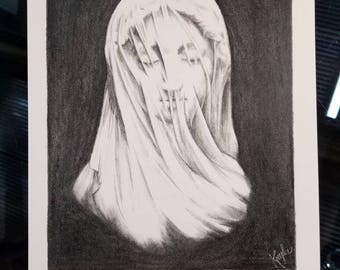 Veiled Woman Graphite Drawing Print