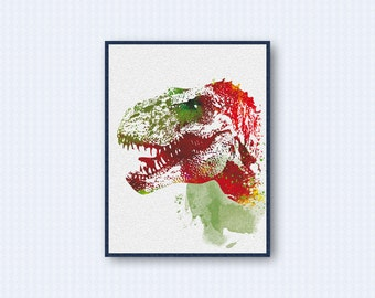 T-Rex Dinosaur Watercolor Poster