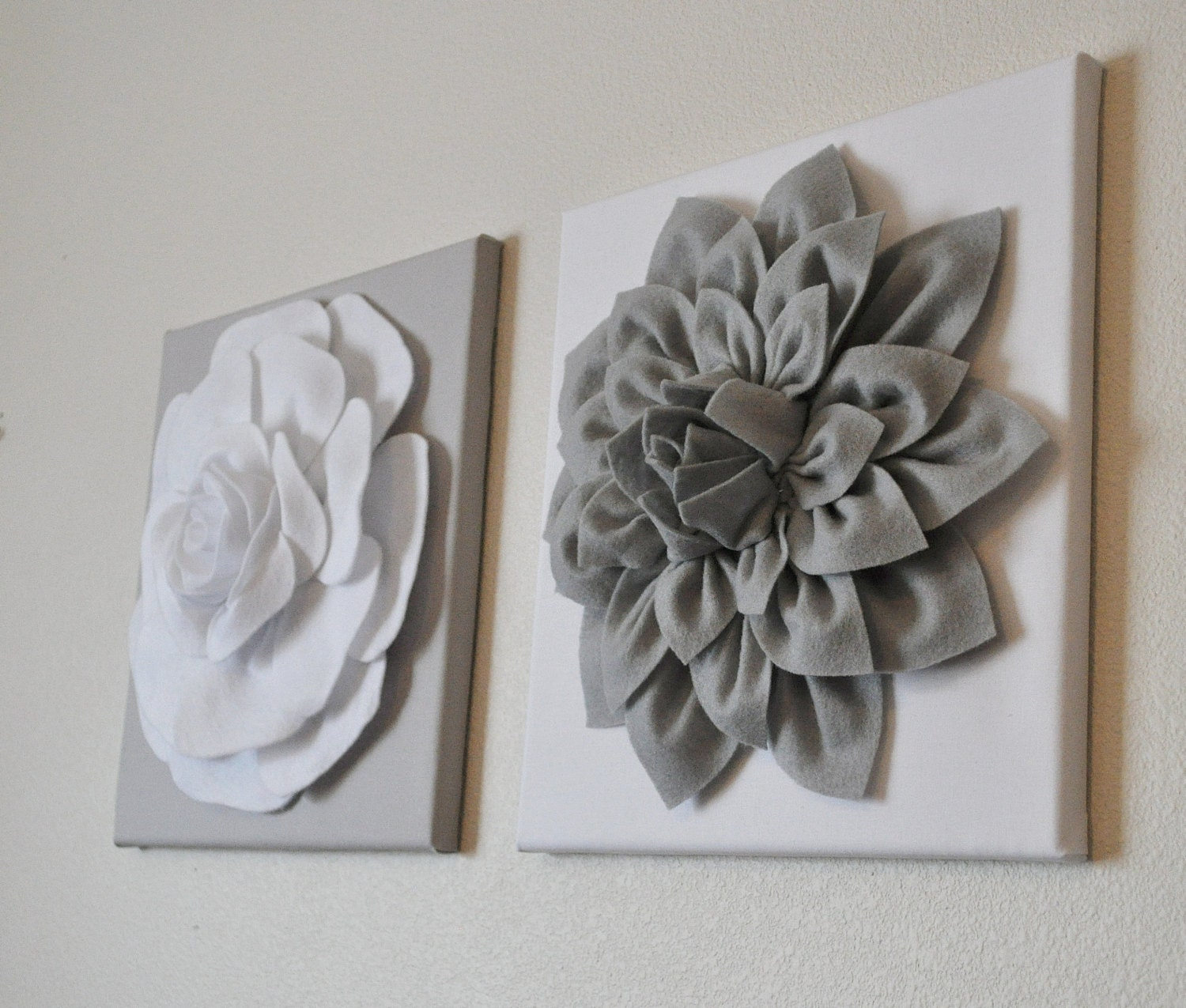 Silver Wall Art Two Wall Flowers Gray Dahlia On White And White Rose On Gray