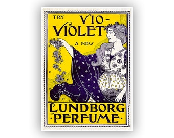 Violet Perfumes, Classic Advertising Poster, Vintage Style Print, Great For Art For the Bathroom