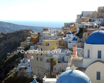 "Greece Photography ""Blue Domes on Santorini, Oia, Greece"""