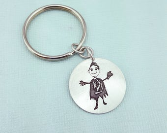 Father's Day Keychain - Mens Personalized - Your Childs Art Gift - Personalized Gift - Personalized Keychain - Custom Handwriting