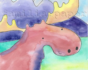 Adventure Moose: 8x10 Print of Original Watercolor