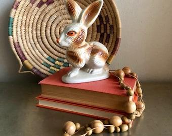 vintage lustreware bunny rabbit orange eyes made in Brazil figurine