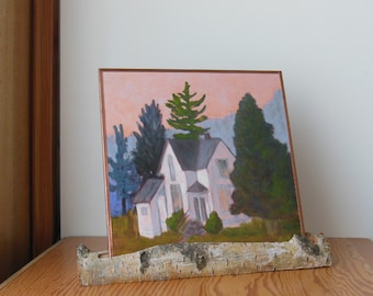 """Small Landscape Oil Painting on Reflective  metallic Copper """"Farm House"""" in a Natural Birch Branch Twig Stand to display on Desk or Shelf"""