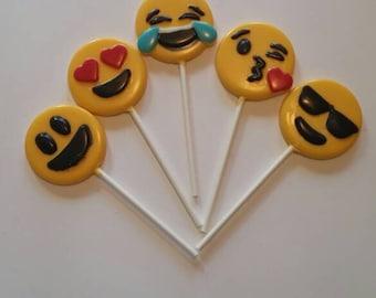 Emoji chocolate lollipops