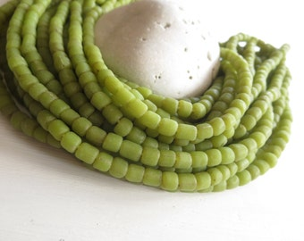 green glass beads, green seed beads, opaque matte lime irregular spacer barrel tube , New Indo-pacific, 3 to 5mm  / 22 inches strand 6A14-23